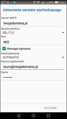 Bluemail konfiguracja konta SMTP