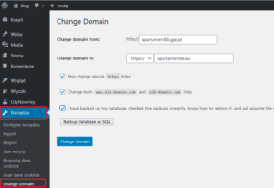 Change domain from ... to ...