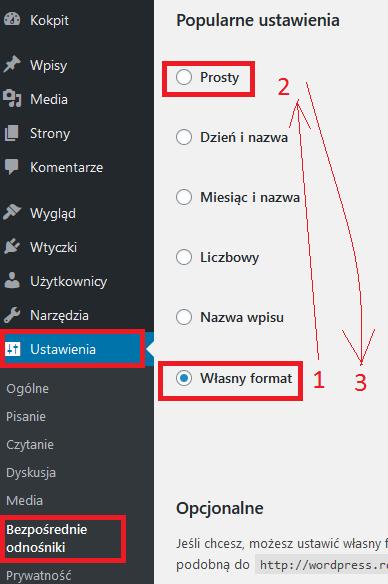Bezpośrednie odnośniki WordPress