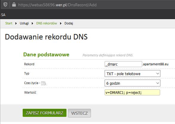 Dodawanie Dmarc do DNS